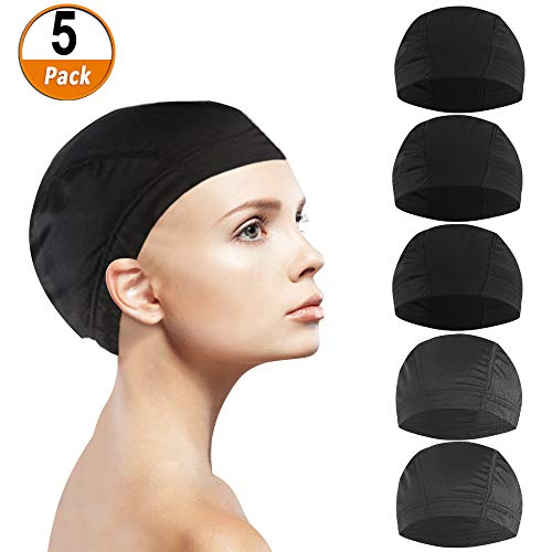 5 Unids Dome Cap peluca, Malla Spandex Elástica Antideslizante Redecilla Transpirable Soft Nature Weaving...