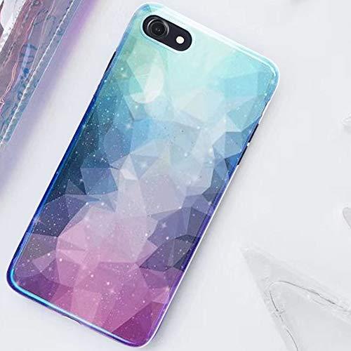 MoreChioce MoreChioce kompatibel mit iPhone 8 Hülle,kompatibel mit iPhone 7 Hülle Glitzer, Kreativ 3D Blau Diamant Bling Strass Weiche Silikon Handyhülle Glitzern Sparkle TPU Kristall Case Defender Bumper,EINWEG