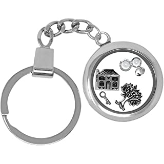 New Home Housewarming Floating Charm Keyring Made with Swarovski Stones & Themed Gift Boxed