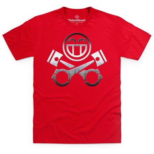 PistonHeads Smiley Metal T-Shirt, Herren Rot