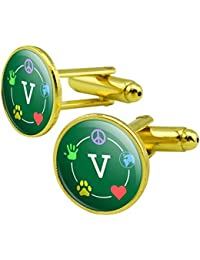 Vegan Values Circle Round Cufflink Set Gold Color