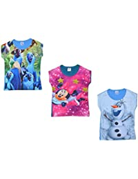 Sathiyas Girls Graphic Printed T-Shirt - (Pack of 3) (asvT26)