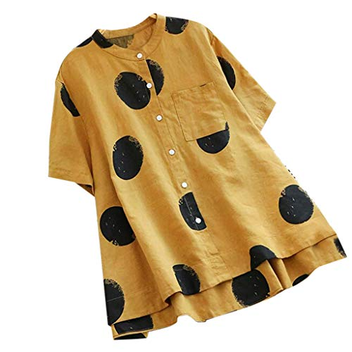 Susen Tops Blusa Camiseta Mujer Manga Corta Camiseta con Estampado De Lunares Y Estampado De Lunares De Manga Corta Y Blusa De Manga Corta para Mujer