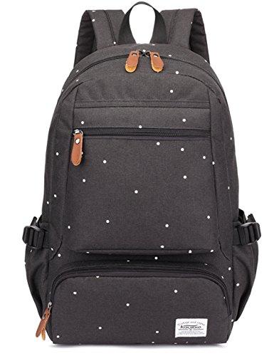 KAUKKO Mode weißen Pünktchen Schulrucksack Stylisch Outdoor Wander Rucksack für Universität College Daypack (Schwarz-8008)