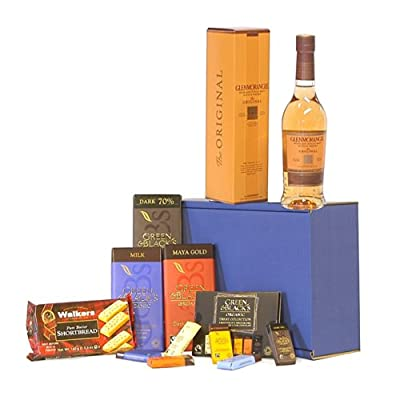 The Glenmorangie Whisky & Chocolate Survival Kit Gift Hamper - Includes 350ml 10 Years Old Glenmorangie Single Malt Scotch Whisky Gift ideas for - Valentines,Presents,Birthday,Men,Him,Dad,Her,Mum,Thank you,Wedding Anniversary,Engagement,18th,21st,30th,40t