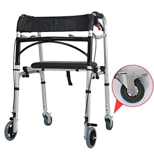 DOPORA Deambulatore Pieghevole per impieghi gravosi, rollator in Alluminio con Ruota del Freno Posteriore e Tuta per Sedile per Adulti, Anziani, Anziani e handicappati