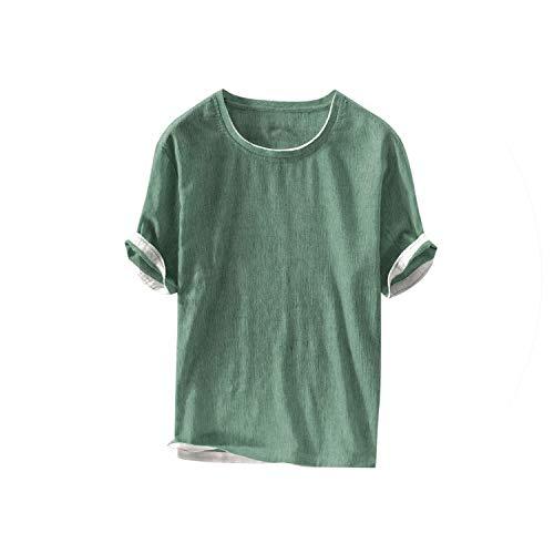 2019 Sommer-Mode Für Männer-T-Shirt Der Männer Leinen Kurz Solid Color Short Sleeve Thin-zufällige Spitze T, Grün, M