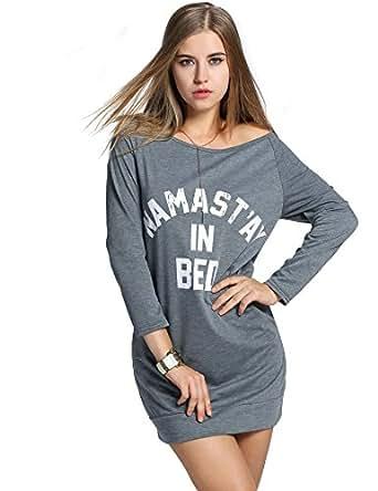 Livesimply Women's Cotton Casual Boat Neck Raglan Long Sleeve Sweatshirt Blouse Top (1968545031, Large, Grey)