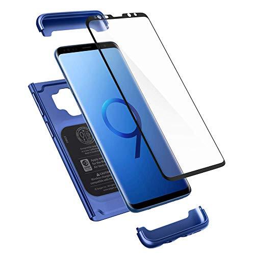Spigen 592CS22873 Thin Fit 360 Kompatibel mit Samsung Galaxy S9 Hülle, 360° R&umschutz Gratis Panzerglas Handyhülle Schutzhülle Case Coral Blue