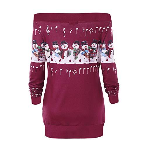 OverDose Damen Womens Frohe Weihnachten Plus Size Pullover Hirsch Elch Printed Party Startseite Cosplay Elegant Skew Neck Sweatshirt Outwear Hoodie Langarmshirts(X-B-Weinrot,EU-40/CN-XL)