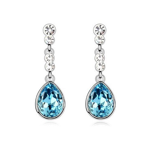 Silver Shoppee Silver Bling Rhodium Plated K Crystal, Cubic Zirconia Alloy Drop Earring  available at amazon for Rs.339