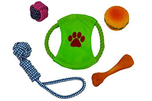5-teiliges Maxi Spielzeug-Set für Hunde / Katzen   Mix aus 5 verschiedenen bunten Teile zum Beißen Kauen Rollen Werfen & Apportieren   Stundenlanger Spielspaß für Vierbeiner und Herrchen/Frauchen