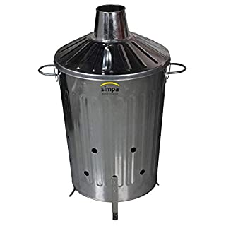 60L 60 Litre Incinerator Garden Burn Leaves Paper Wood Galvanised Rubbish