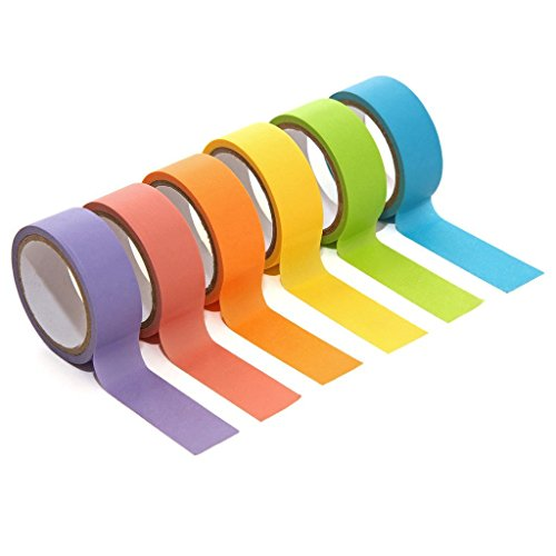 Pindia Set Of 6Pc Multicolor Craft Tape Adhesive Rolled Paper All Purpose DIY Duct Tape Roll, Decorative, Art & Craft, Gift Wrapping, Birthday Card Making, Handmade Craft, Scrapbooking, Home Decoration And Other Creative Projects- (9mm X 5m)  available at amazon for Rs.192