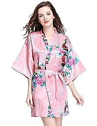 HOQTUM Pijamas de Mujer, Batas de Bata de Estilo Kimono de Estilo japonés Vestidos de