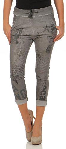 malito Damen Jeans mit Muster   Hose mit Strass   Stretch Jeans im Denim Look   Joggjeans - Slim fit 7556 (grau, L)