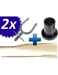 1 Paar (2 Stuck) Ruder mit Ruderdollen - Holz und Edelstahl (2 Ruder +2 Ruderlager + 2 Kragen) (195 cm)