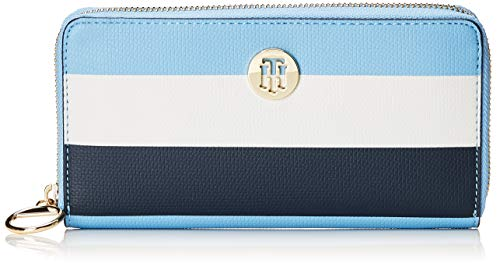 Tommy Hilfiger Damen Effortless Saffiano Za Wallet Geldbörse, Blau (Dusk Blue), 2x11x19 cm