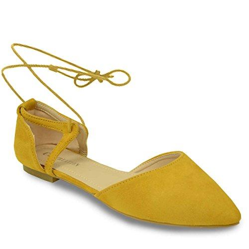 Cucu Fashion , Bride de cheville femme Jaune - jaune
