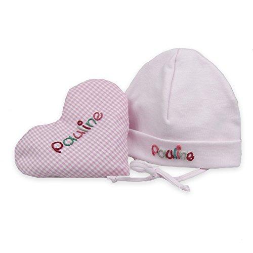 Rosa Baby Geschenkset 2-teilig mit Namen, aus Wärmekissen und Babymütze Geschenk zur Geburt, Taufgeschenk