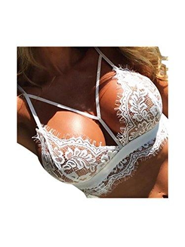 Malloom® Frauen Dessous Korsett Spitze Blumen Bralette Bralet BH Tank Cami Crop Unterwäsche (weiß, L) (Korsett Weiß Spitze)