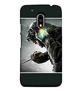For Motorola Moto E3 Power The man behind mask, soldier Printed Cell Phone Cases, assasin Mobile Phone Cases ( Cell Phone Accessories ), blade Designer Art Pouch Pouches Covers, mask Customized Cases & Covers, skull Smart Phone Covers , Phone Back Case Covers By Cover Dunia