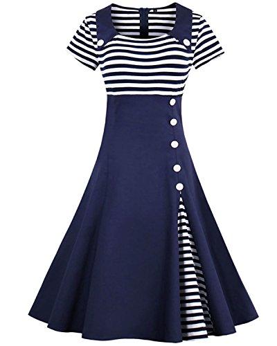 ZAFUL Damen Streifen Partykeider Hepburn Knopf Festkleid Kurzarm Cocktailkleid Schwing Kleid-Marine blau-S (Marine-blau-damen Shirt)