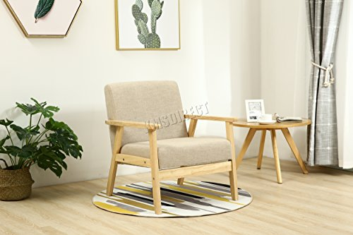 WestWood Retro Single Fabric Armchair Vintage Seat Accent Chair Sofa Recliner Dining Room Livingroom Bedroom Office Lounge Home Furniture Wood 2085 Cream