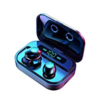 RONSHIN M7 TWS 5.0 Bluetooth Earphones Power LED Display Wireless Earphone IPX7 Waterproof Sport Earbuds 6D Stereo Game Headset Black Electronic Accessories