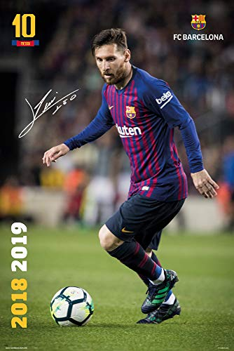 FCB Empire Merchandising Affiche FC Barcelone 2018 2019 Messi Action  Produit Officiel Barcelone Signature Messi d58dc74c122