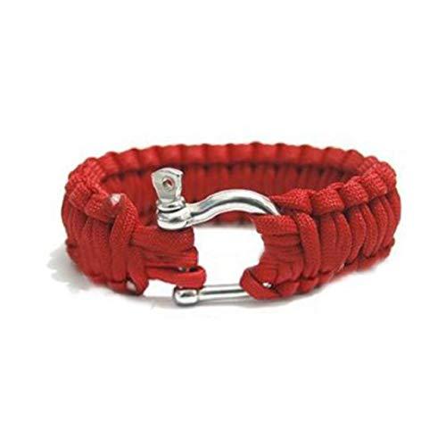 ICHQ Armband, Armband Mode U Form Schnalle Armbänder Schmuck Zusätze Regenschirm Seil Bracelet Kletter Schlaufe Zubehör Geschenk für Geburtstag,Klettern (Rote)