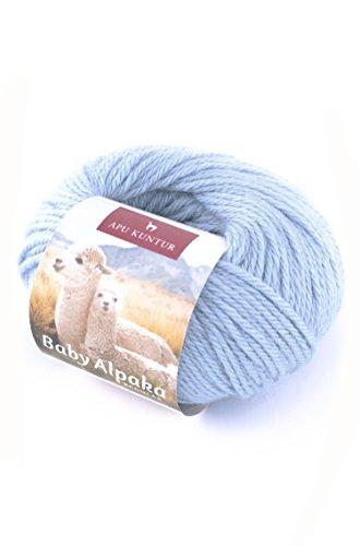 APU KUNTUR 100% Baby-Alpaka Wolle | Strick-Häkel-Garn Weich, Warm und kratzfrei | Vorteils- 5er-Pack | 100m, Nadel 4 | wunderschöne Farben Zum angenehmen Stricken und häkeln | Eis-Blau (Alpaka-wolle Stricken)