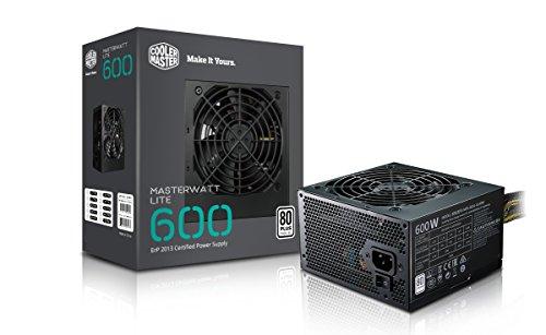 Cooler Master MasterWatt Lite 600 230V PC Netzteil \'Non-Modular, 80 Plus White, 600W\' MPX-6001-ACABW-EU