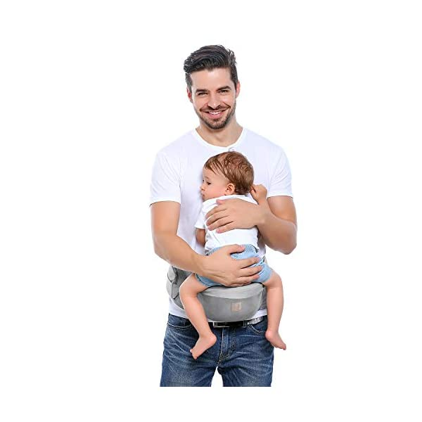 GAGAKU Baby Hip Seat Carrier Lightweight Baby Waist Carrier - Grey GAGAKU Material: 100% cotton fabric; Inner pad is made of EPP shock absorbent foam, safe and no deformation; Age Stages: Suitable for babies from 0-36 months and load bearing 0 to 44 lbs (0 - 20 KG); Slope Design: 30 degrees tilt designed Hip-seat provides proper support of baby's legs, hips and spine, and the surface covered with anti-slip treatment; 7