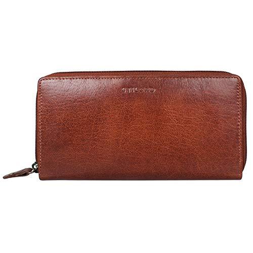 Stilord 'dana' portafoglio donna grande in pelle vera anti rfid con cerniera vintage borsellino con portamonete e per banconote carta d'identità in cuoio, colore:mandorla - marrone