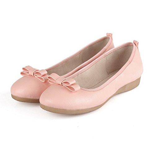 AllhqFashion Damen Weiches Material Niedriger Absatz Ziehen Auf Rund Zehe Pumps Schuhe Pink