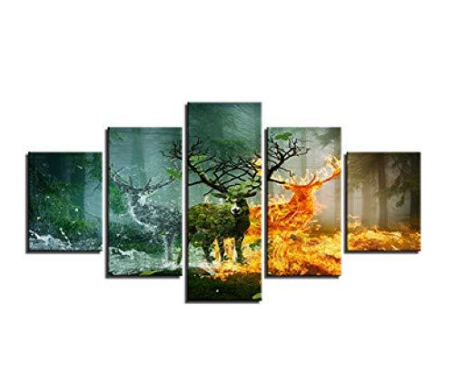 CANPIC Start Kunstwerke Leinwandbilder 5-Panel-Holzfeuer Hirsch Natur Ansicht Bilder HD-Drucke Poster @ 20X35 20X45 20X55cm mit Rahmen - Ansicht 16x20 Foto