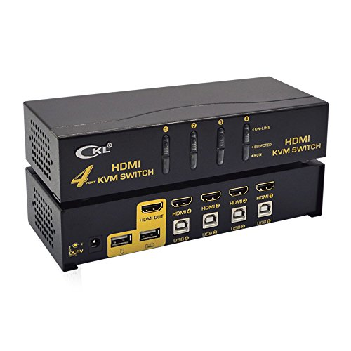 USB HDMI KVM Switch 4 Port mit Kabel Kit Unterstützt Auto Scan 1080p 3D, PC Monitor Tastatur Maus Schalter für Computer Server Laptop DVR NVR Desktop - Computer-monitor-hdmi-switch