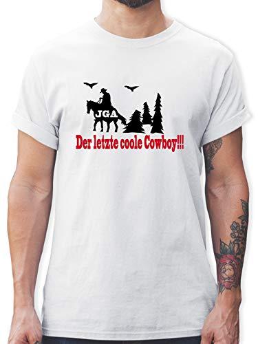 Kostüm Der Dude - JGA Junggesellenabschied - Der letzte Coole Cowboy - S - Weiß - L190 - Herren T-Shirt und Männer Tshirt