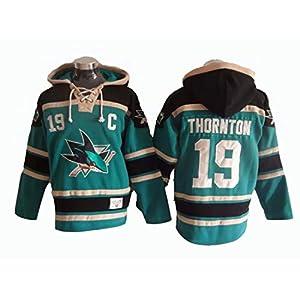 NHL San Jose Sharks Joe Thornton # 19 Grüner Kapuzenpulli Trikot Genähte Buchstaben Zahlen NHL Langarm-T-Shirt