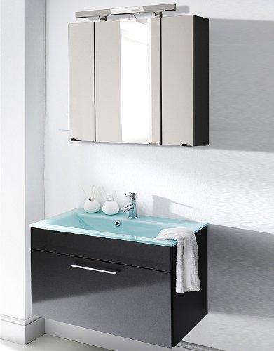#Badezimmer Waschplatz Set Hochglanz anthrazit Badmöbel Spiegelschrank Waschtisch#