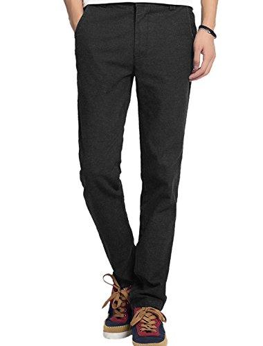 Hommes Boucle De Ceinture Bouton Fermeture Front Braguette Zip Fin Pantalon Décontracté Noir - Noir