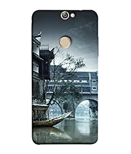 FUSON Designer Back Case Cover for Coolpad Max (Vintage Look Tturist Boat In An Amsterdam Canal Surrounded)