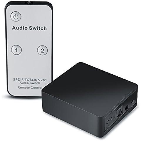 CSL - Conmutador Toslink 2x1 / Conmutador de audio SPDIF (TOSLINK) con mando a distancia | Transmisión de señal sin pérdidas | Apple TV, PS3/PS4, Xbox/Xbox One, reproductor Blu-ray a sistemas soundbar, receptores, altavoces, sistemas de alta