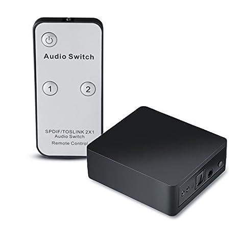 CSL - Toslink 2 x 1 Switch / SPDIF audio switch with remote control | 1:1 transmission | Apple TV, Xbox, Blu-ray player etc. to sound bar, receiver, speakers etc. | Black