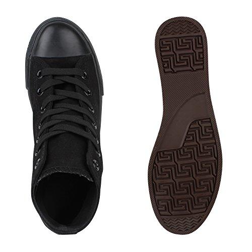 Herren Damen Sneakers High Top Profilsohle Freizeit Turnschuhe Schwarz Schwarz