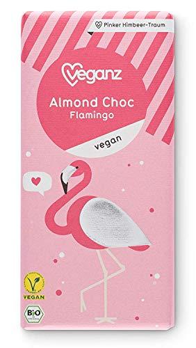 Veganz BIO Almond Choc Flamingo ✔ Vegane Weiße Schokolade mit Mandeln und Himbeeren Vegan Weiß Pink ✔ 12 x 80g