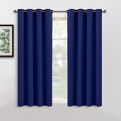 Vorhänge Blickdicht Gardinen mit Ösen - PONY DANCE 137 cm x 132 cm (H x B), Dunkel Blau Vorhang 1 Paar für Küche, Studentenwohnheim (Fenster Volant Blau)