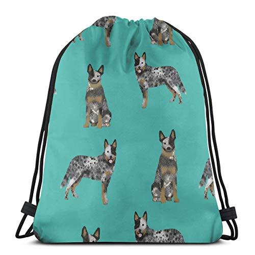 best gift Australian Cattle Dog Blue Coat for Cattle Dog Lover Turquoise_1711 Custom Drawstring Shoulder Bags Gym Bag Travel Backpack Lightweight Gym for Man Women 16.9