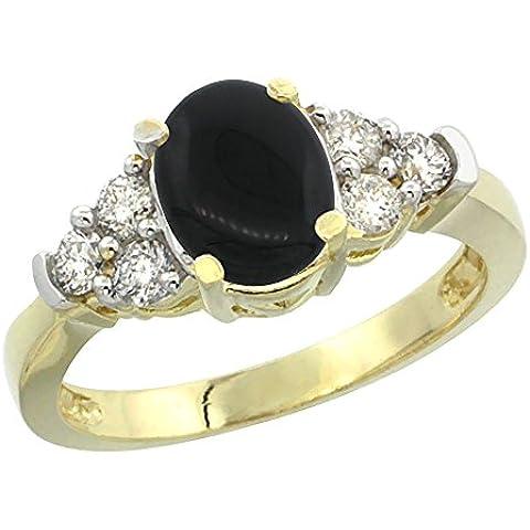 Collana in oro giallo 14 kt, con anello d'onice nera naturale 9 x 7 mm, forma ovale, accento diamante, taglie